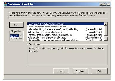 Optimize your brainwaves with this software based on binaural beats. wonderful Screen Shot