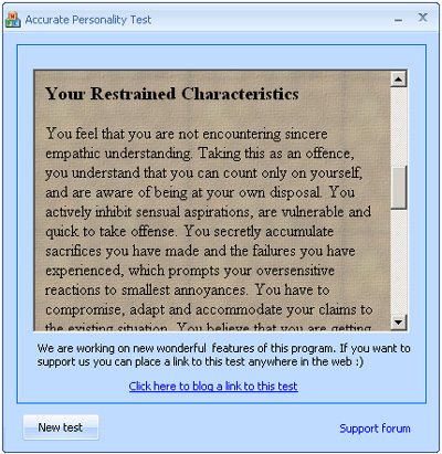 This test determines your psychological state and personality type. Screen Shot